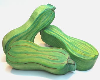 Wooden Zucchini Play Food // Waldorf Inspired Wooden Toy Produce Zucchini // Play Kitchen // Play Food // Natural Kitchen Play