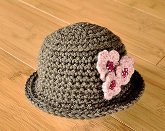 Baby Girl Hat, Newborn Girl Hat, Newborn Girl Hat, Brown Fedora Style Baby Hat, Baby Girl Hat with Pink Flower, Infant Girl Hat Photo Prop