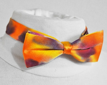 Bow tie with adjustable silk, handpainted, orange purple multicolor