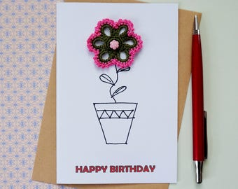 Happy birthday card for mother in law card Floral birthday card for sister birthday gift Birthday card friend birthday card Flower pot