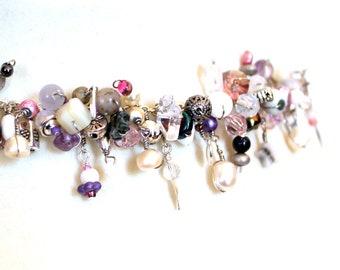 steampunk wirework bracelet. charm bracelet. soft colors. handmade gift. beaded wire wrapped jewelry.