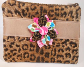 Hand Bag Clutch with Zipper Closure Handmade with Tapestry and Tafeta