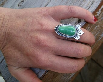 EC...Temple...Sterling silver Variscite ring