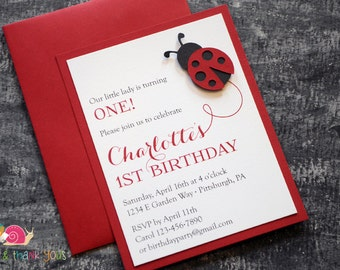Ladybug Birthday Party Invitations · A2 LAYERED · Baby Shower | First Birthday | Spring Social