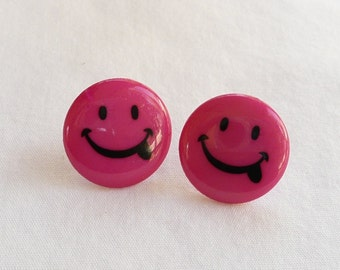 ns-Hot Pink Smiley Face Stud Earrings