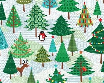 FROSTY fabric cotton patchwork Frosty Trees forest x50cm Christmas trees