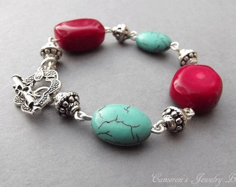 Turquoise and Coral Jewelry, Red Coral Bracelet, Turquoise Jewelry Native American, Bridesmaid Jewelry