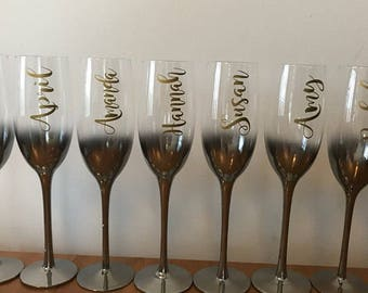Custom name vinyl decal for wine glass , Personalized Wine Glass Decal. wedding party