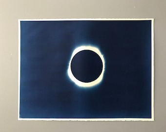 Solar Eclipse Cyanotype Hand Printed Original Art