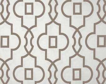 "Pair, Two 50"" wide custom curtain panels, drapes, rod pocket Premier bordeaux ecru and white cotton"