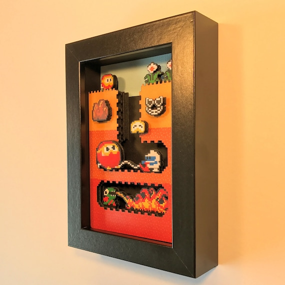 Dig Dug Shadowbox 4x6 Classic Retrogaming Art Shadow Box Diorama