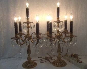 Brass Crystal Candelabra Pair Spanish Crystal Candelabra Set Mantle Lights Five Light Table Chandeliers Banquet Lights Girandoles DD 1421