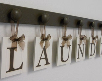 Laundry Room Decor | Laundry Sign | Laundry Room Sign | Sign Letters Chocolate Brown or Black | LAUNDRY ROOM