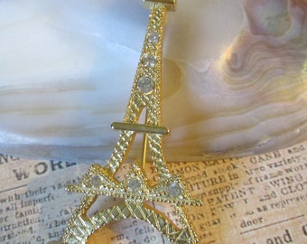 """Large Vintage Eiffel Tower Pin/Brooch (PARIS)*goldtone w clear sparkle embellishments*2-1/2"""" tall* 9948"""