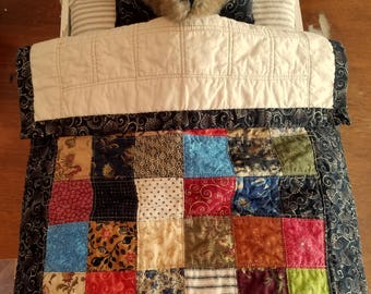 Quilt, Doll, Bear, Toy, Play, Rich Tones, Earth Tones, Toddler, Child Display, Patchwork, Sampler