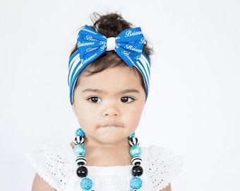 Personalized Baby Headband - Baby Headband - Newborn Name Headband - Baby Name Headband - Baby bow Headband - Baby Turban - Blue Stripes bow