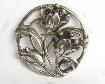 Art Nouveau Sterling Silver Open Work Brooch, Ca. 1920s – Sterling Silver Brooch – Vintage Jewelry