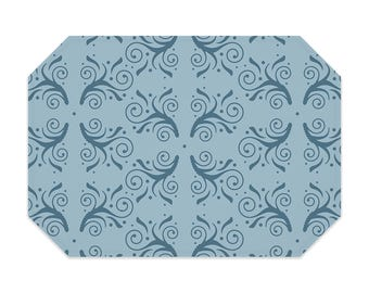 Light blue placemat, flourish design placemat, printed cloth placemat, washable polyester fabric placemat, table linens, table setting