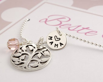 Name chain with tree of life and engraving, best mama
