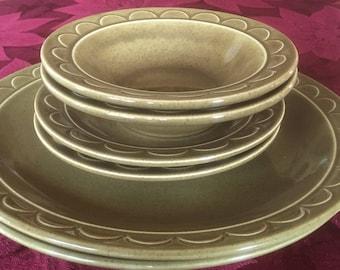 Sheffield Granada Green Dinner Plates, Salad Plates, Cereal Bowls - Set of Six