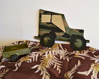Camouflage coaster, car mug rug, man cave decor, retirement gift for him,