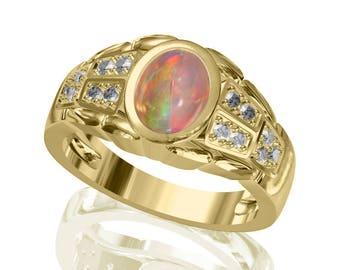 8x6mm Real Australian Black Opal Ring w/ 0.21ct Diamond in 14K or 18K Gold SKU: R2396