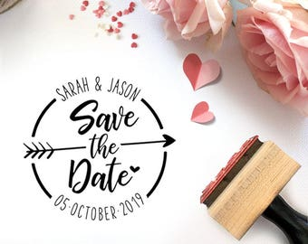 Custom Save the Date Hand Lettered Pre-Designed Rubber Stamp - Branding, Packaging, Party, Invitations, Tags, Wedding - W010