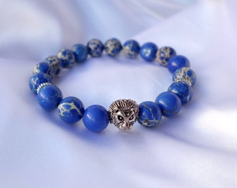 Mens semi-precious blue sodalite stretch bracelet - Mens Jewelry