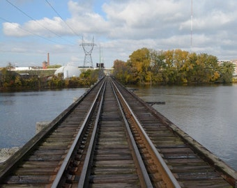 Grand River Rail Road Track~ **Art**Photograph**Converging Line**Wall Art**Office Art**