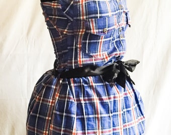 One of a kind custom tartan shirt dress