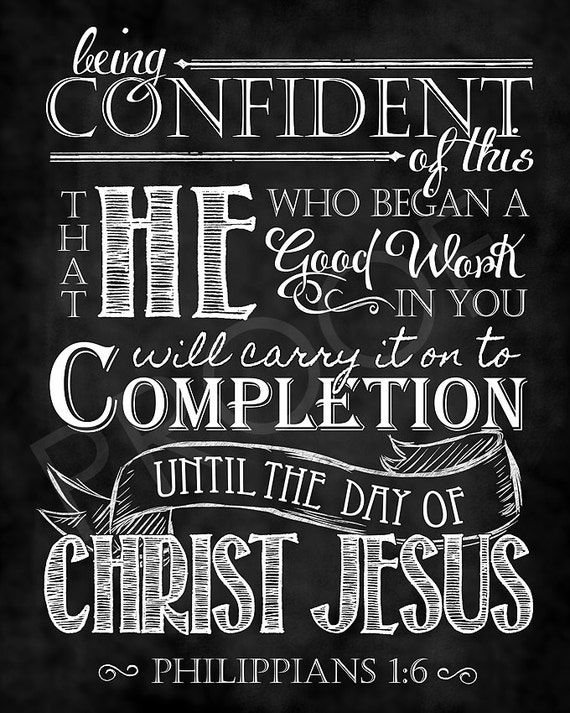 Scripture Art Philippians 1 6 Chalkboard Style
