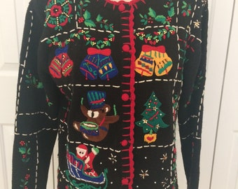 Vintage Ugly Christmas Sweater/Applique Christmas Cardigan