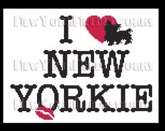I Love New Yorkie Cross Stitch, I Love New York, Silhouettes, Yorkie Cross Stitch, Modern Cross Stitch from NewYorkNeedleworks on Etsy