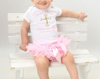 Personalized Baby Girl Baptism Outfit in Pink and Gold - Baptism Onesie -  Baby Dedication Outfit - Christening Outfit - God Bless Outfit