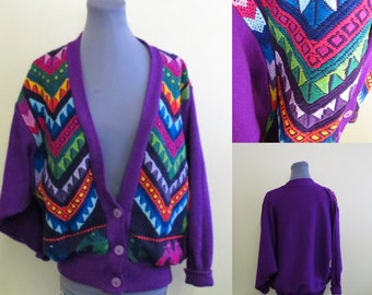Vintage Hand embroidered  Guatemalan Cardigan Sweater, Purple and fabulous bright colors, Ethic Sweater, Sz L-XL, Batwing Sweater, Colorful