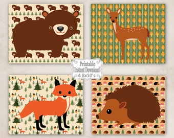 Printable Woodland Animals Nursery Wall Art Decor with Bear Fox Deer Hedgehog Baby Child Kids ~ DIY Instant Download ~ 4 8x10 Prints