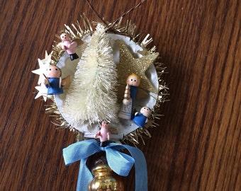 Vintage tart tin Christmas ornament with miniature wood angels
