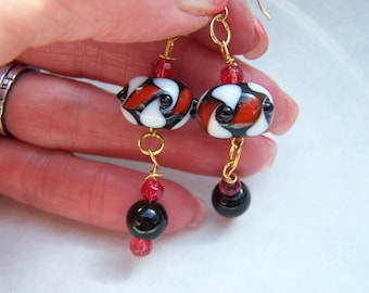 Red Earrings - White Earrings - Black Doodaba Geometric Lampwork Glass Dangle Earrings