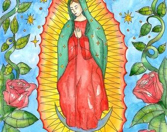 Our Lady of Guadalupe Original Watercolor Painting Catholic Saint Voodoo Art Hoodoo Virgin Mary Fantasy Art Pagan Spiritual Magick Santeria