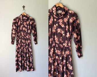 Vintage HANDMADE Dress • 1970s Clothing • Bell Dolman Sleeve Midi Calf Length Cowl Turtle Neck •Black Rose Pink Floral Print •Women Medium