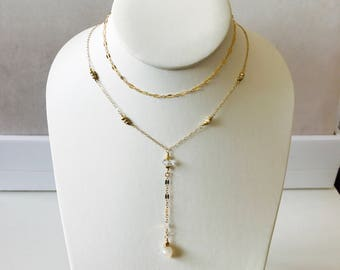 NEW Silverite two tone gold fill layering lariat necklace, gold beaded lariat necklace