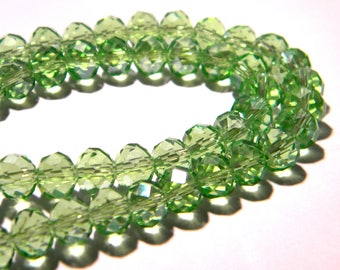 """30 """"Austrian Crystal"""" glass beads 8 mm x 6 mm - F163 - seagreen - faceted"""