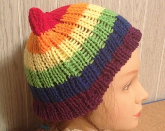 Rainbow PussyHat Cat beanie Women's March PUSSY HAT Ski Cap Kitty Ears 3 Sizes, -- Charity Donation & Free 1st Class Shipping UsA