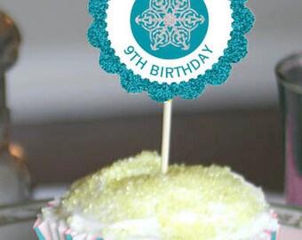 Congelados brillo fiesta Cupcake Toppers