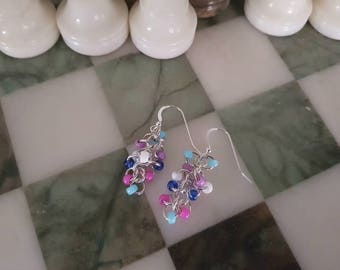 Handcrafted Sterling Silver 925 Bead Drop Earrings in Blue Purple and White Tones
