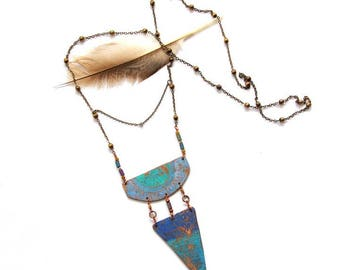 Etched Copper and Ombre Patina Necklace (P3007)