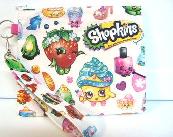 Shopkins Toy Pouch, Shopkin Zipper Purse, Crayon Holder, Coin Pouch Purse with Detachable Handle