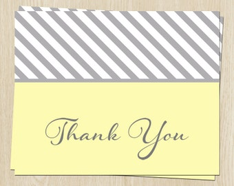 Baby Shower Thank You Cards, Baby Sprinkle, Yellow,  Gray, Stripes, Gender Neutral, Birthday, Grey, 20 Printed Cards, FREE Shipping