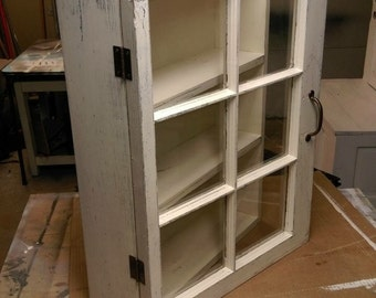 ON SALE Medicine cabinet - rustic display cabinet - window wall cabinet - rustic wood windows - 6 pane window cabinet - shabby cabinet - sha