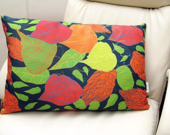 SALE -15% OFF Fallen leaves pillowcase by original pattern design, decorative cushion cover in yellow, orange, green, blue 14x22', 20x20'